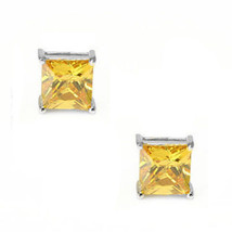 0.50-3.60 CT Citrine Square Princess Cut Stud Earrings 14k White Gold Screw Back - $43.06+