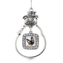 Inspired Silver Siamese Cat Classic Snowman Holiday Decoration Christmas... - $14.69