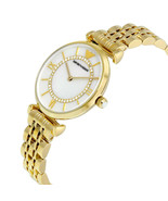 Emporio Armani Womens Watch Crystals White Dial Gold Band AR1907 Genuine VIP - $136.61