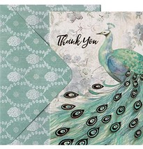 Punch Studio Sage Peacock Window Boxed Foil Thank You Note Cards 15723, ... - $21.55