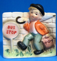 Retro Planter Boy With Umbrella Ceramic Hummel Style Hand Painted 1950s ... - $14.00