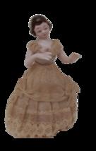 Porcelain figurine lady 1930s vintage lace trim Japan lace dress   - $25.59