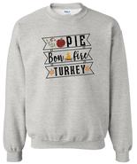 Apple Pie Bonfire Turkey Crewneck Sweatshirt Fall Leaves Thanksgiving Au... - $21.99+