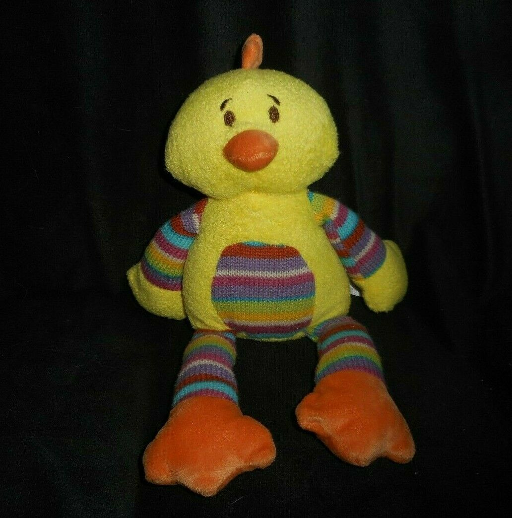 "Primary image for 12"" 2014 ANIMAL ADVENTURE YELLOW DUCK CHICK RAINBOW STUFFED PLUSH TOY LOVEY SOFT"