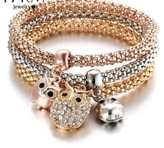 Adjustable Charm Bracelet For Women Multi Layer Three Color Chain Link B... - $7.58