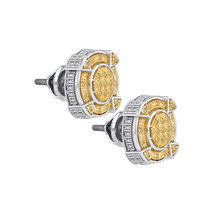 Sterling Silver Round Yellow Colored Diamond Cluster Fashion Earrings 1/... - $79.99