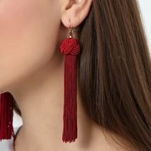 1Pair Bohemia Fashion Hand Woven Long Ball Exaggerated Female Tassel Ear... - $25.99