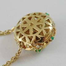 18k YELLOW GOLD NECKLACE WITH CABOCHON GREEN EMERALD AND DIAMONDS BUTTON PENDANT image 5