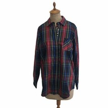 Orvis Women's Red Green Blue Plaid Blouse Beaded Christmas Holiday Blous... - $46.60