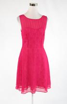 Fuchsia pink BETSEY JOHNSON sheer overlay stretch sleeveless A-line dress 6 - $49.99
