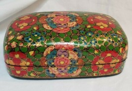 Chinese Lacquer Box Hand Painted Floral Lid Paper Mache Jewelry Trinket ... - $59.38