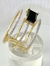 14k Yellow Gold Sophia Triple Band Black Onyx Center and Diamond Ring Sz... - $445.90