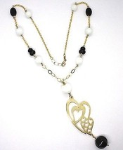 Silver necklace 925, Yellow, Onyx, White Agate, Double Heart Pendant image 2