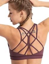 coastal rose Women's Yoga Bra Top Strappy Back Push Up Crop Sports Bra Activewea