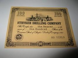 1964 Stocks & Bonds 3M Bookshelf Board Game Piece: Stryker Drilling 100 Shares  - $1.00