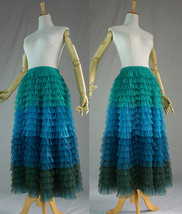 Multi-Color Tiered Tulle Skirt A-line Layered Tulle Midi Skirt Party Outfit image 9