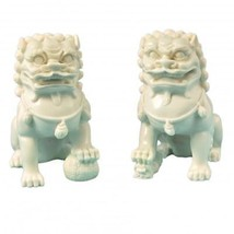 Chinese Contemporary Fu Temple Dogs Statue in White - $34.95