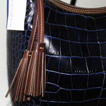 Dooney & Bourke Paige Sac Leather Croco Emb Hobo Blue image 3