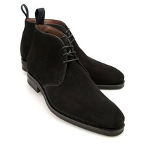 Men's Black Chukka Suede Ankle High Premium Quality Leather Handcrafted ... - $159.55+