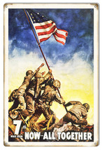 War Loan Now 7th All Together Reproduction Money Metal Sign 12x18 - $21.78
