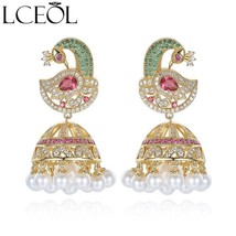 LCEOL New Ethnic Bridal Jewelry Antique Gold Color Bird With Created Pea... - $29.47