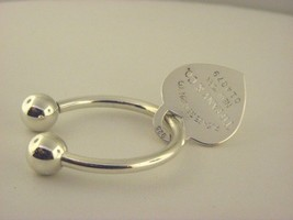 Tiffany & Co Return To Tiffany Heart Key Ring Keychain Large in Sterling... - $133.65