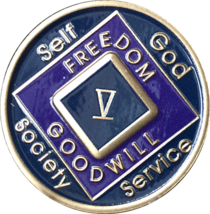 5 Year NA Medallion Triplate Narcotics Anonymous Black Blue & Purple Chi... - $42.99