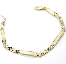 Armband Gelbgold Weiß 18K 750, Platte Strick, Einsatz Abwechselnde - $932.44