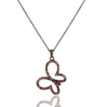 Black Oxidized Sterling Silver Pink Tourmaline Butterfly Chain Pendant N... - $40.59