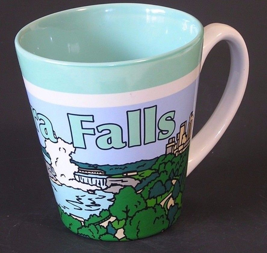 Niagara Falls NY Coffee Cup Hot Chocolate Tea Ceramic Mug Green Turquoise White