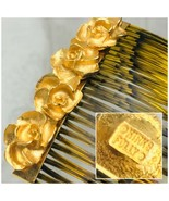 Kirks Folly Floral Art Nouveau Style Gold Plated Hair Comb Clip Made In USA - $32.18