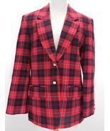 VTG 80s PENDLETON Womens Sz 8 100% WOOL Red/Black XMAS PARTY Plaid Blaze... - $39.19