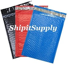 3-600 #000 4x8 (Black Blue & Red ) Poly Bubble Padded Mailers Fast Shipping - $3.49+