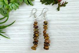 Tiger Eye Dangle Earrings, Healing Stone Jewelry - $7.59