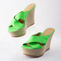 Nine West Womens Dashall Espadrille Platform Wedge Sandals Sz 8.5 Neon G... - $34.64