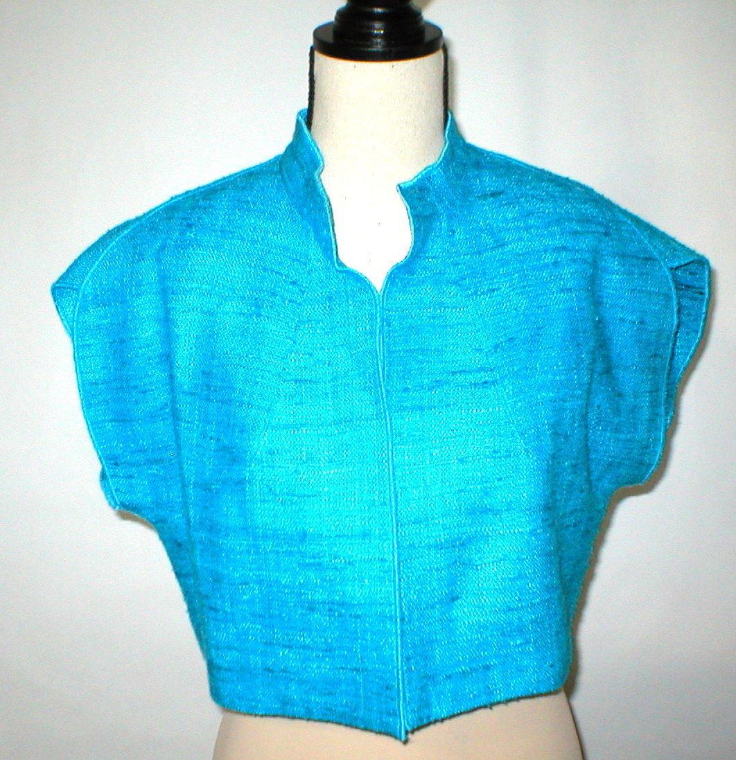 NWT $468 Womens S USA Worth New York Light Blue Silk Micro Jacket NWT Crop Oasis