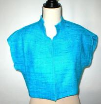 NWT $468 Womens S USA Worth New York Light Blue Silk Micro Jacket NWT Crop Oasis image 1