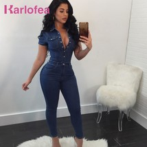 Karlofea Denim Rompers Women Jumpsuits Short Sleeve Slim Jeans Fashion Daily Out - $67.08