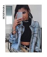 SEXEMARA Streetwear Vintage Loose Denim Jacket Women Cool Jeans Coats an... - $96.87