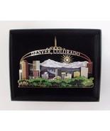 Denver Colorado Brass Ornament Black Leatherette Gift Box Travel Souvenir - $18.95