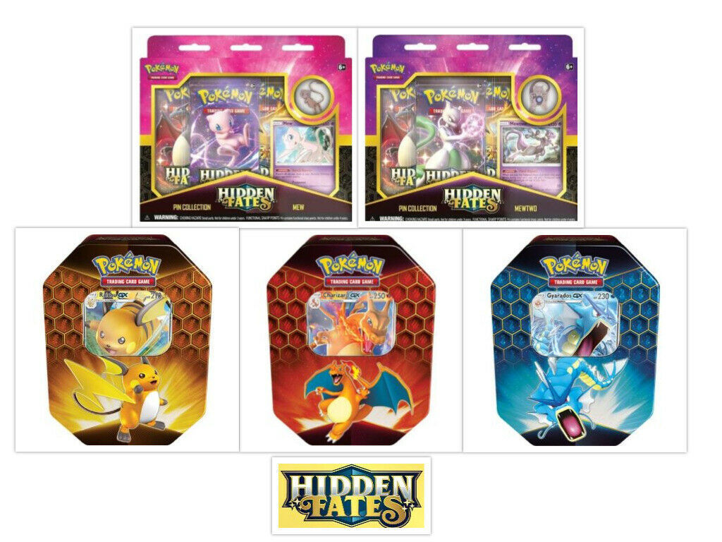 Pokemon Hidden Fates Pin Collection Boxes and Tins Bundle Mew Mewtwo Charizard