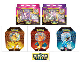 Pokemon Hidden Fates Pin Collection Boxes and Tins Bundle Mew Mewtwo Cha... - $129.99