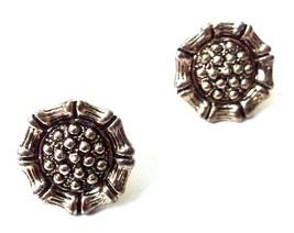 TINY Silver Oxidized Ear Stud Earring Bali Imitation Ethnic Bollywood Je... - $3.96