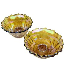 Vintage Indiana Carnival Glass Marigold Wild Rose Taper Candlestick Hold... - $24.99