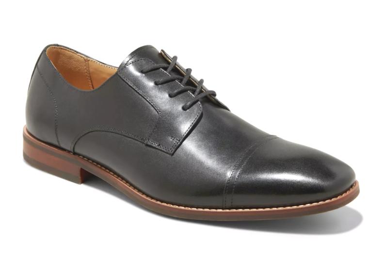 Goodfellow & Co Men's Brandt Black Real Leather Cap Toe Dress Shoes