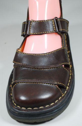 BORN Slingback Fisherman MaryJane Comfort Flats Sandals Closed Toe Brown Leather