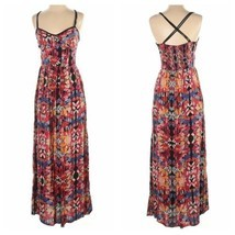 Angie Hippy Boho Fun Red Pattern Sleeveless Summer Maxi Dress Womens Siz... - £13.10 GBP
