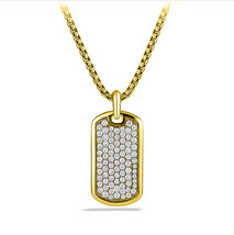 "Hip Hop 14K Gold GP Iced Out CZ Cubic Zirconia Dog Tag Necklace w/ 36"" C... - $12.73"