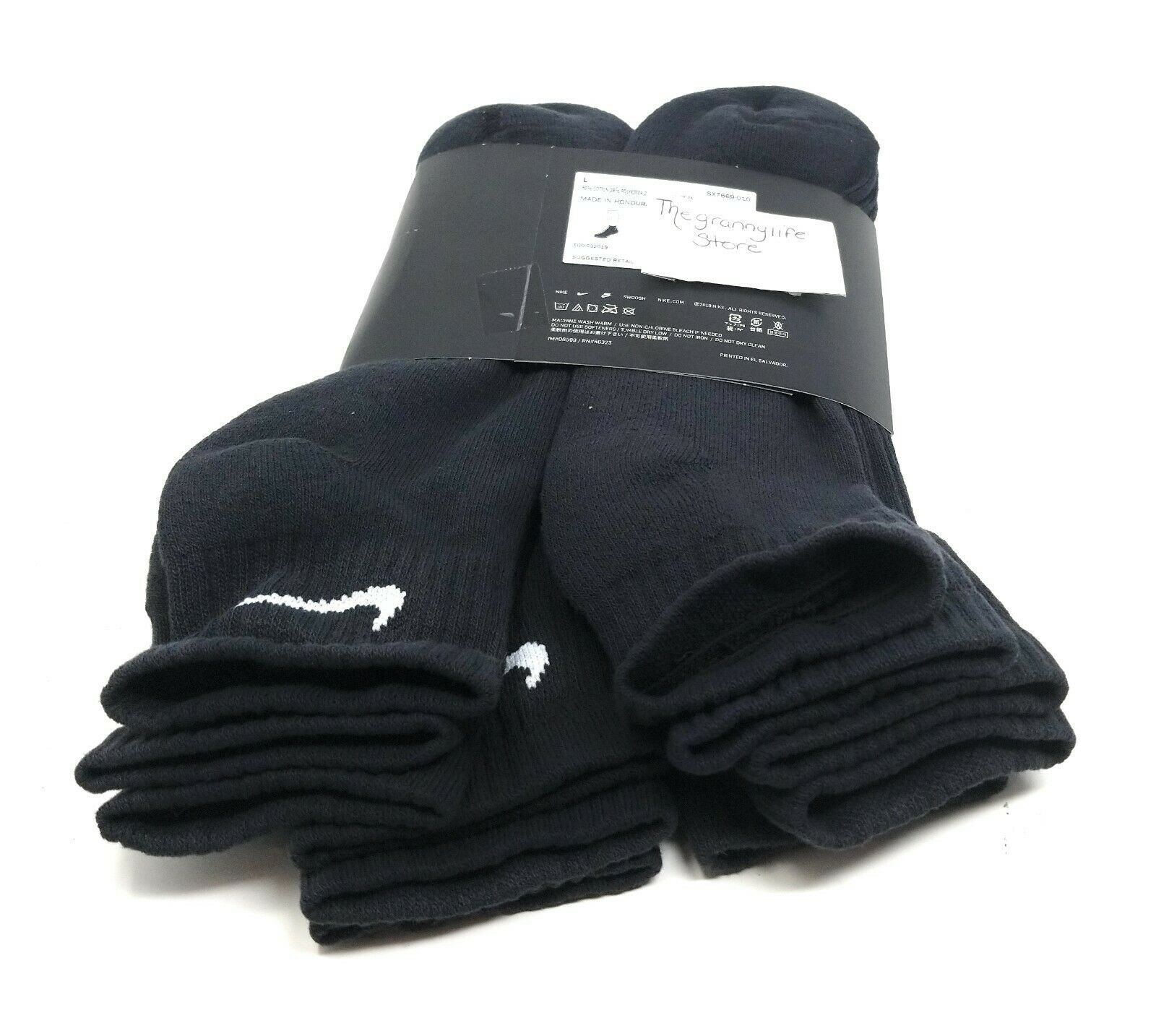 Mens Ankle Nike Socks L Black Women Quarter 6 Pairs Cotton Cushion Training image 5