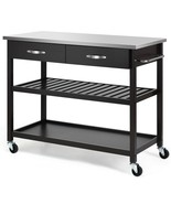 Stainless Steel Rolling Kitchen Island Trolley Cart-Brown - $215.36